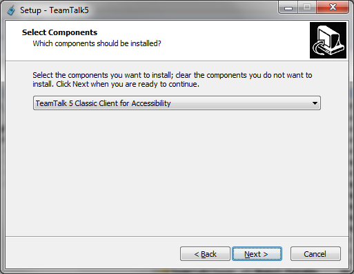 Select TeamTalk 5 Classic for Accessibility during install.